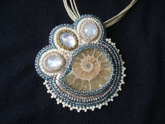 Fossilized Ammonite Moonstone Pin Necklace by SquidsWillBeSquids, $134.00