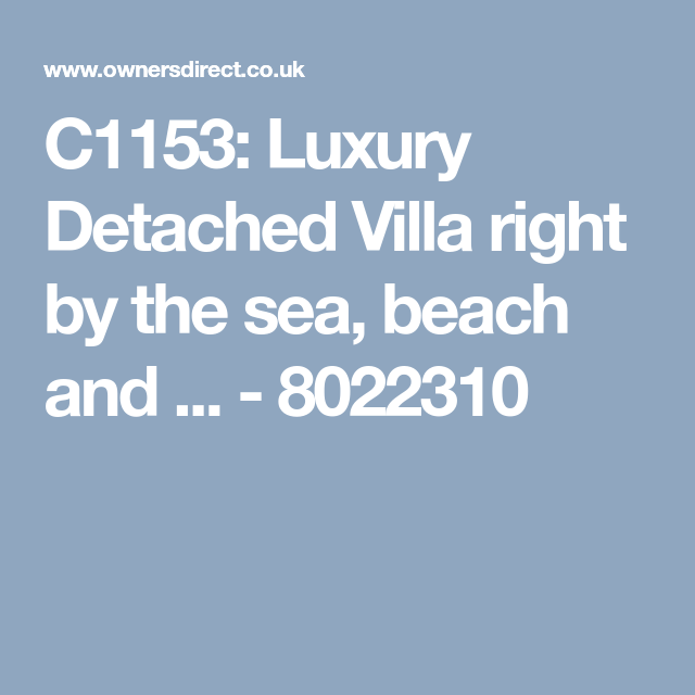 Luxury Detached Villa Black Reef Right By The Sea And Beach