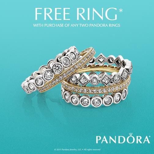 Don't miss you chance to get a FREE PANDORA ring! With your purchase of two PANDORA rings you get a third ring FREE!! #PANDORA #rings #buytwogetonefree #BarnesJewelers #shopbarnes (July 7-17, 2016)