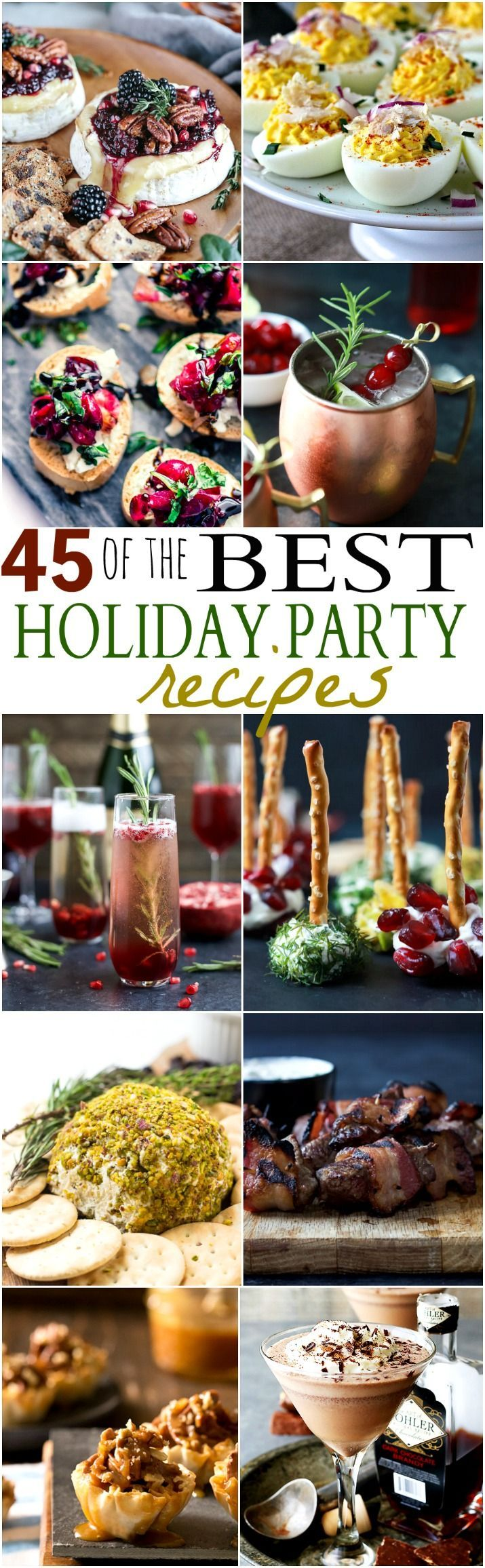 Ensure you have the BEST Holiday Party around with these fun Party Recipes. From festive cocktails to sweet desserts and quick easy appetizers! Your one stop shop! | joyfulhealthyeats.com #Holiday parties