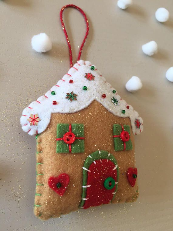 Gingerbread house,Christmas pudding and Gingerbread man.Set of 3 felt ornaments.Christmas decorations. Handmade.Gift tag.Christmas tree
