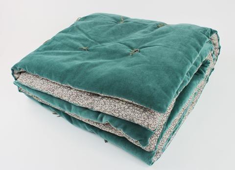 En-fil-dindienne - Plaid velours jete lit Tosca - Bleu-Canard - 160x160 cm