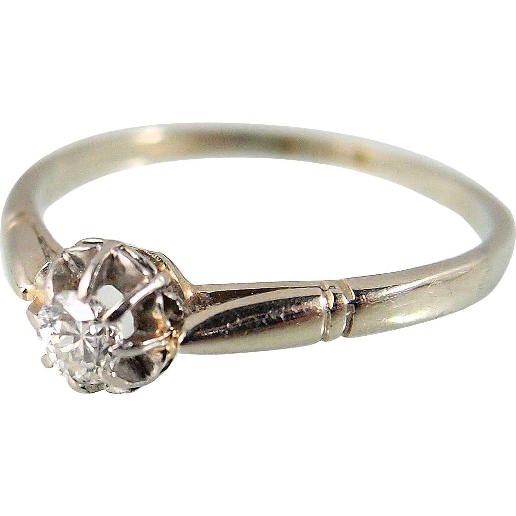 Old european cut elegant diamond solitaire ring in platinum and 18k - Old European Cut Elegant Diamond Solitaire Ring In Platinum And 18k Solid Gold French Stamped