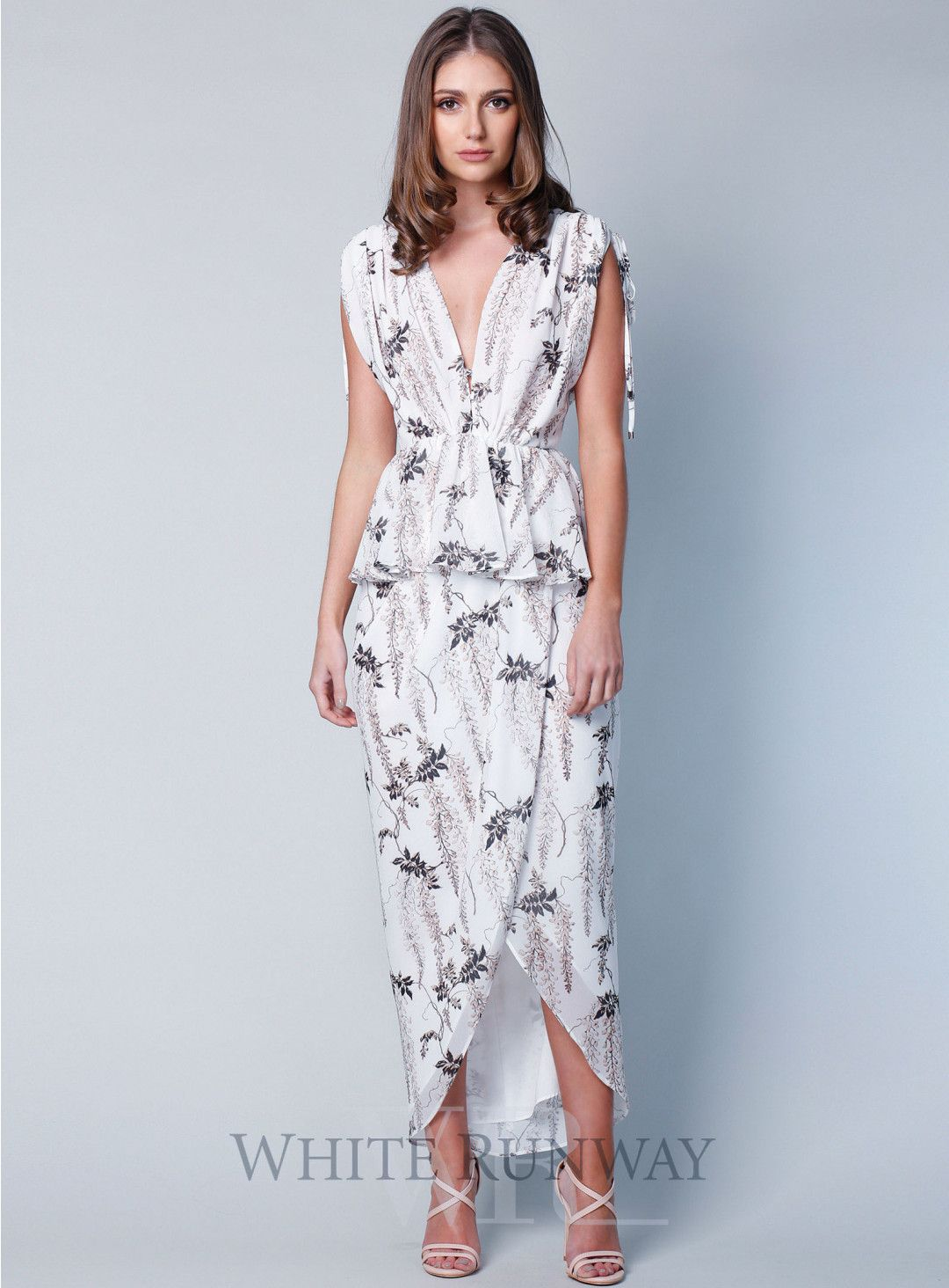 Floral ruched peplum maxi rene pinterest wedding dresses and