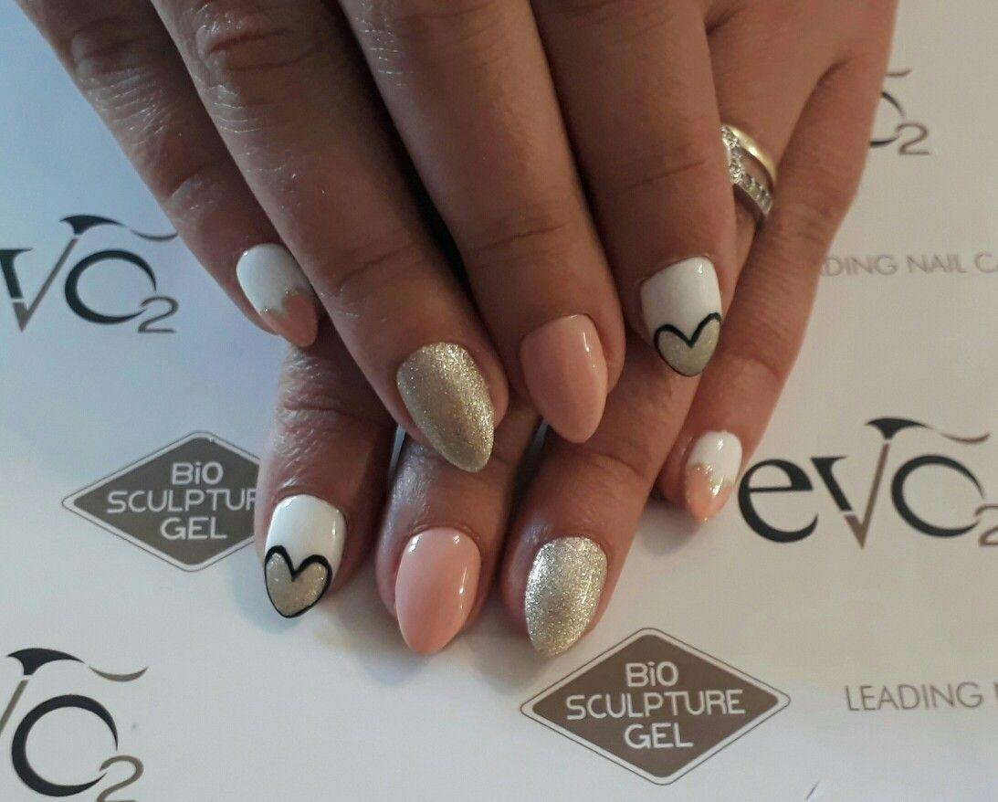Valentines nail art designs hearts pink, silver glitter sharp nails ...
