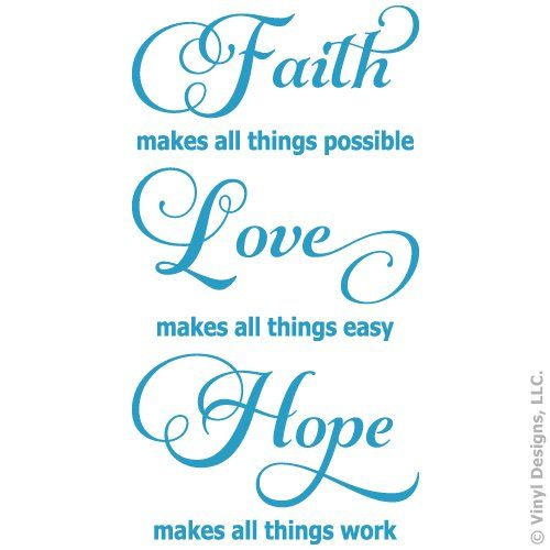 Faith Love Hope Quote Vinyl Wall Decal Sticker Art Words Home Decor Inspiration Faith Love Hope Quotes