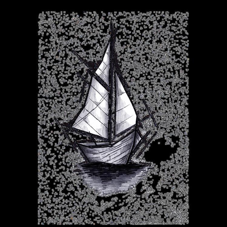 Sailboat Handmade Drawing Art Sketch Barca A Vela Illustration Metal Print By Lucagenart Large In 2020 Sailboat Drawing Sailboat Tattoo Art Sketches