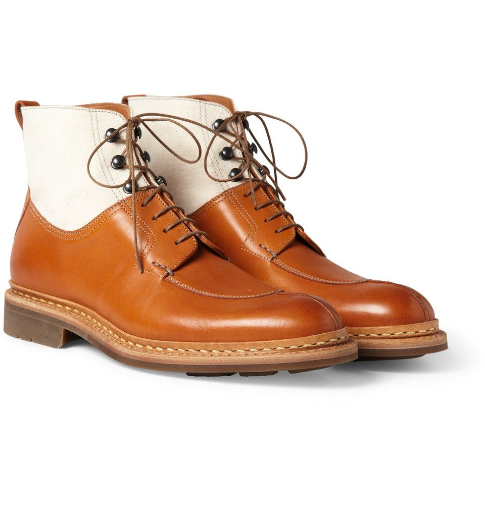 Heschung - Ginko Leather and Canvas Lace-Up Boots. Mens Shoes ...