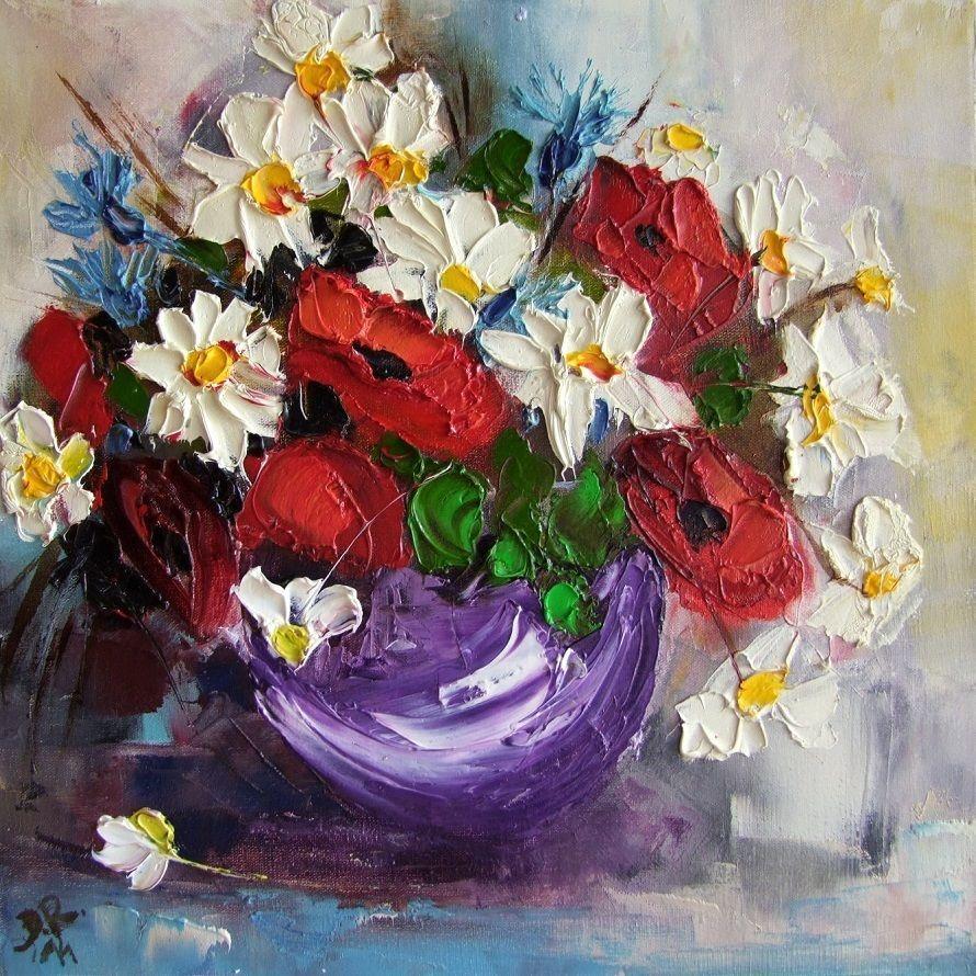 Wild Flowers Bouquet IMPASTO Original Oil Painting Impressionist ...