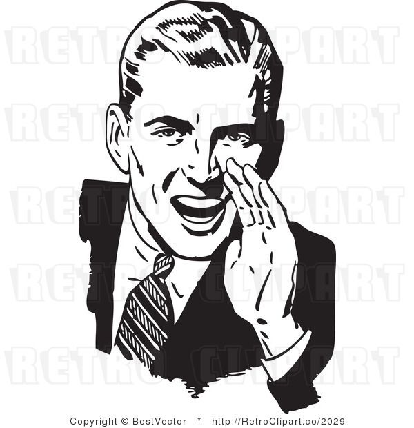 Vintage cartoons of the 1950s royalty free black and white retro vector clip art of a man hollering you bet if they violate the constitution when they