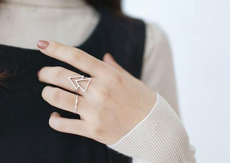 Delicate Ring Fashion Ring Daily Ring Statement Ring Silver Geometric Ring Silver Adjustable Ring Silver Ring Fashion Silver Ring