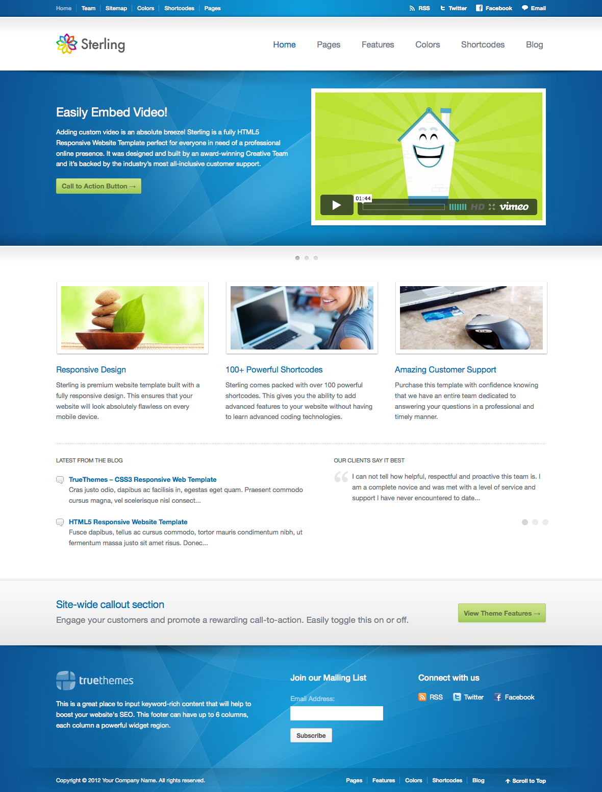 Sterling Html5 Responsive Web Template Web Inspiration