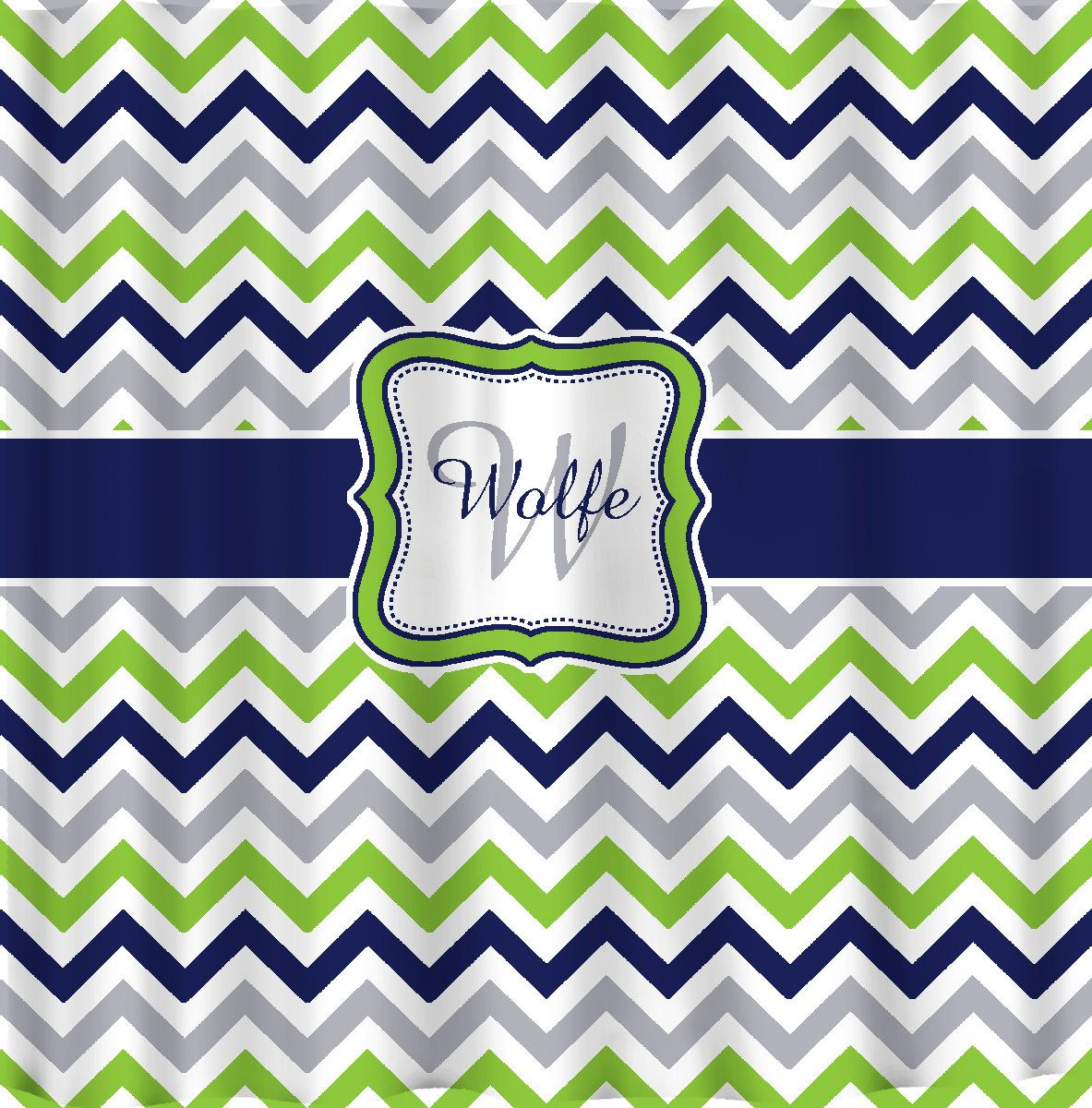 Shower Curtain Multi Color Lime Navy Gray And White By Redbeauty, $78.00
