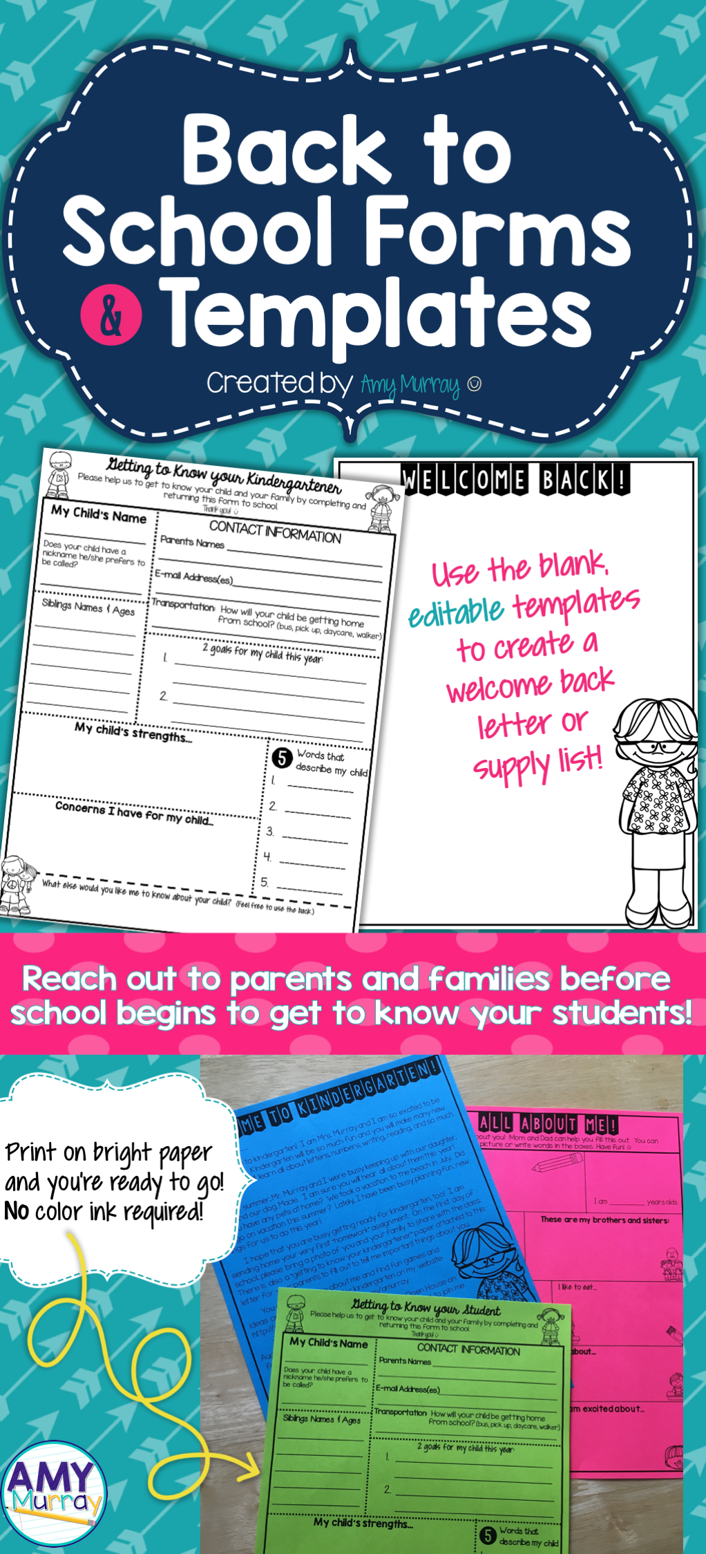 Back to School Forms & Teacher Introduction Letter Template ...