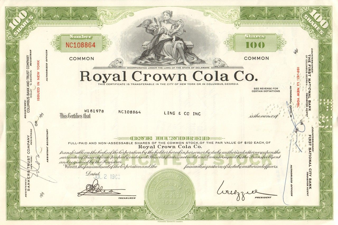 Bank Of America Stock Certificate   Original Stock
