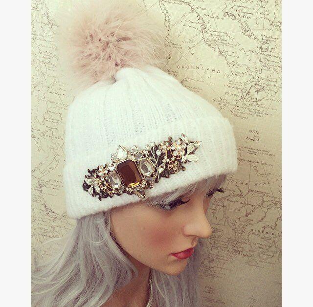 6a5eeca398b51 Womens Pretty Embellished Hats  Hat  Beanie  BobbleHat  PomPom  PomPomHat   Warm  WarmHat  SoftHat  Stylish  FeatherPomPom  WhiteHat  Embellished   Jeweled ...