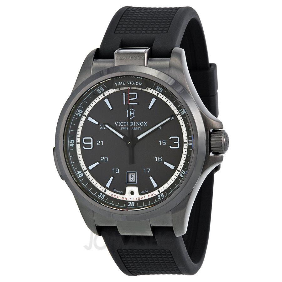 Victorinox Night Vision GMT Black Dial Black Rubber Mens Watch 241596