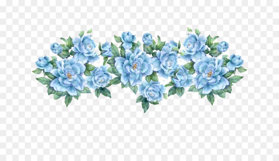 Flower Blue Rose Clip Art Blue Floral Seni Bunga