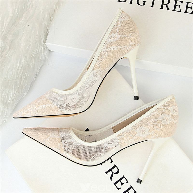 Chic Beautiful Ivory Wedding Shoes 2018 Lace 10 Cm Stiletto Heels Pointed Toe Wedding Pumps Ivory Wedding Shoes Lace High Heels High Heel Dress Shoes