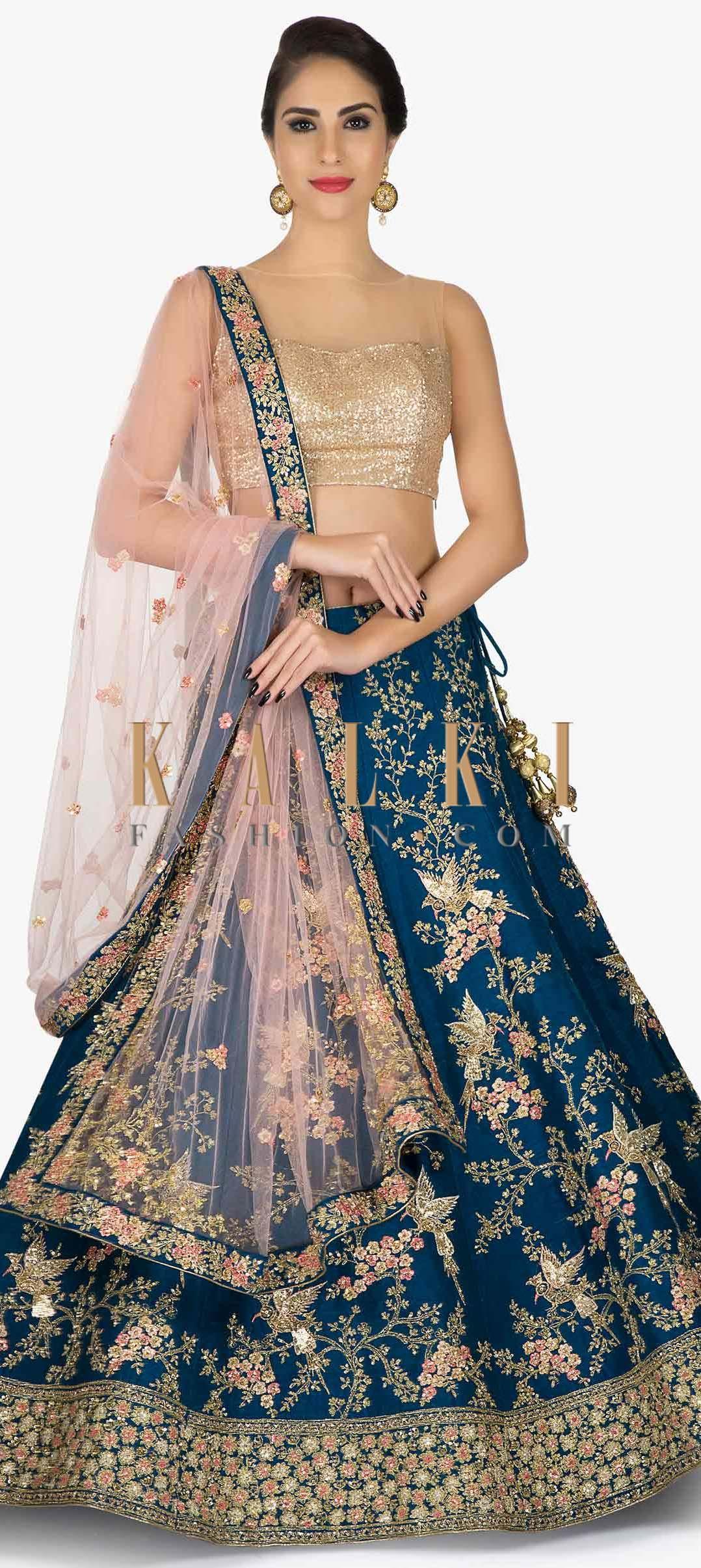 Teal Blue Lehenga Embellished In Bird Motifs With Pink Net Dupatta Only On Kalki Designer Bridal Lehenga Blue Lehenga Designer Dresses Indian