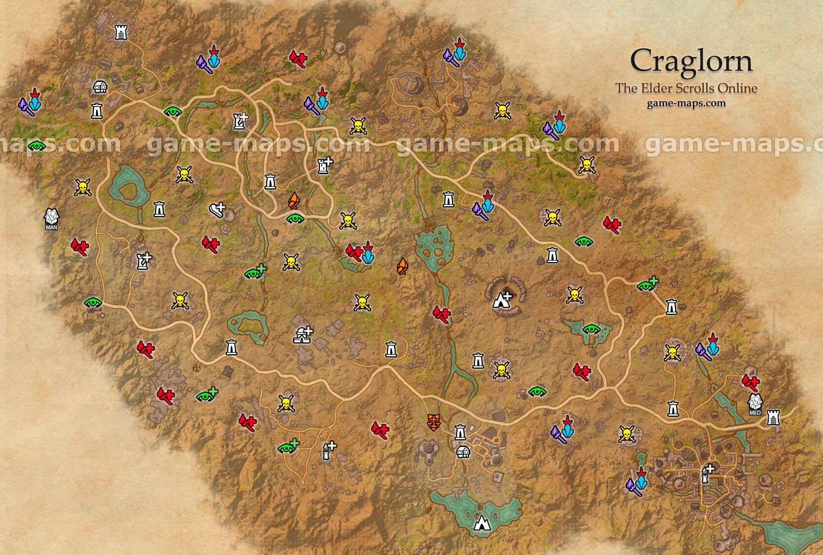 craglorn zone map elder scrolls online tamriel unlimited locales wayshrines skyshards solo public and group dungeons cities world bosses taverns