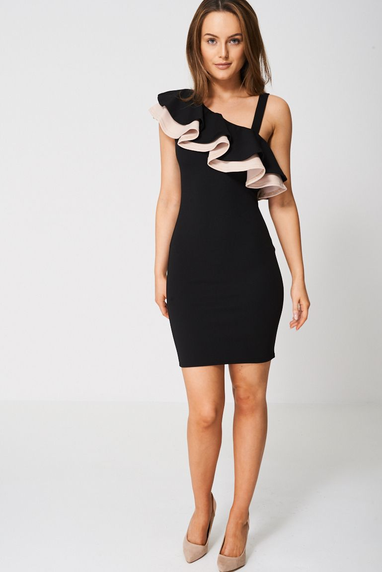 532661a0 Black Ex-Branded Off Shoulder Dress With Peach Layered Frill Detail - Plus  Sizes Available. This item is ex-branded and will therefore have the labels  cut.
