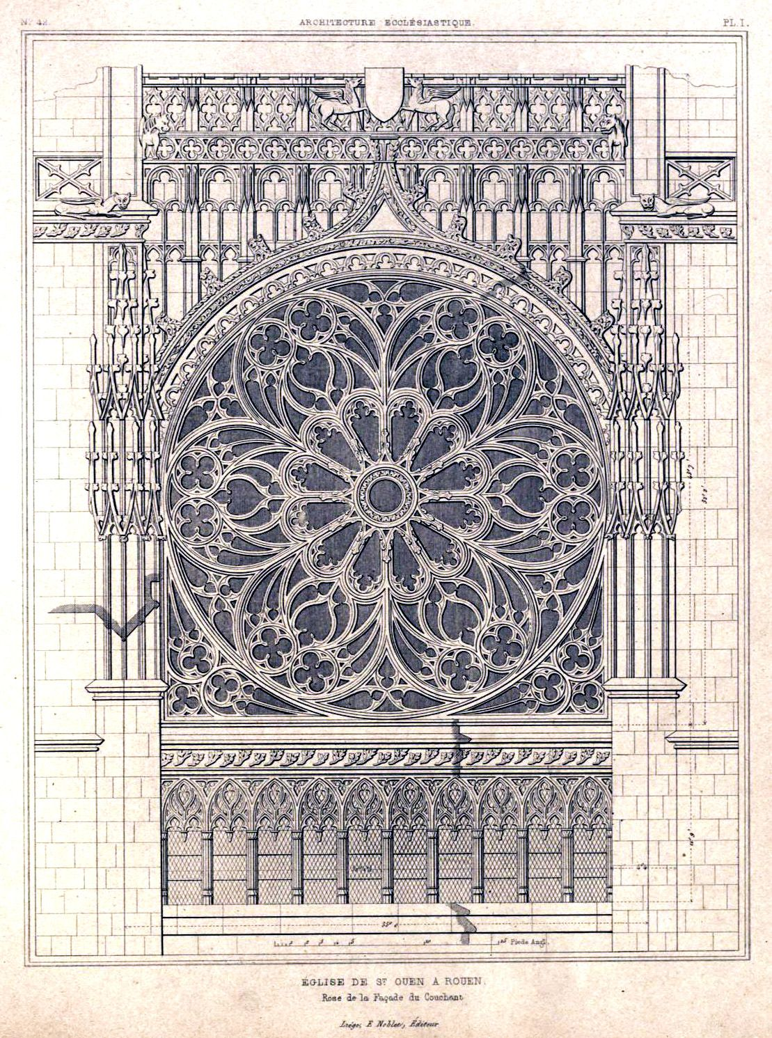 Architectural detail of the Church of St. Ouen, Rouen