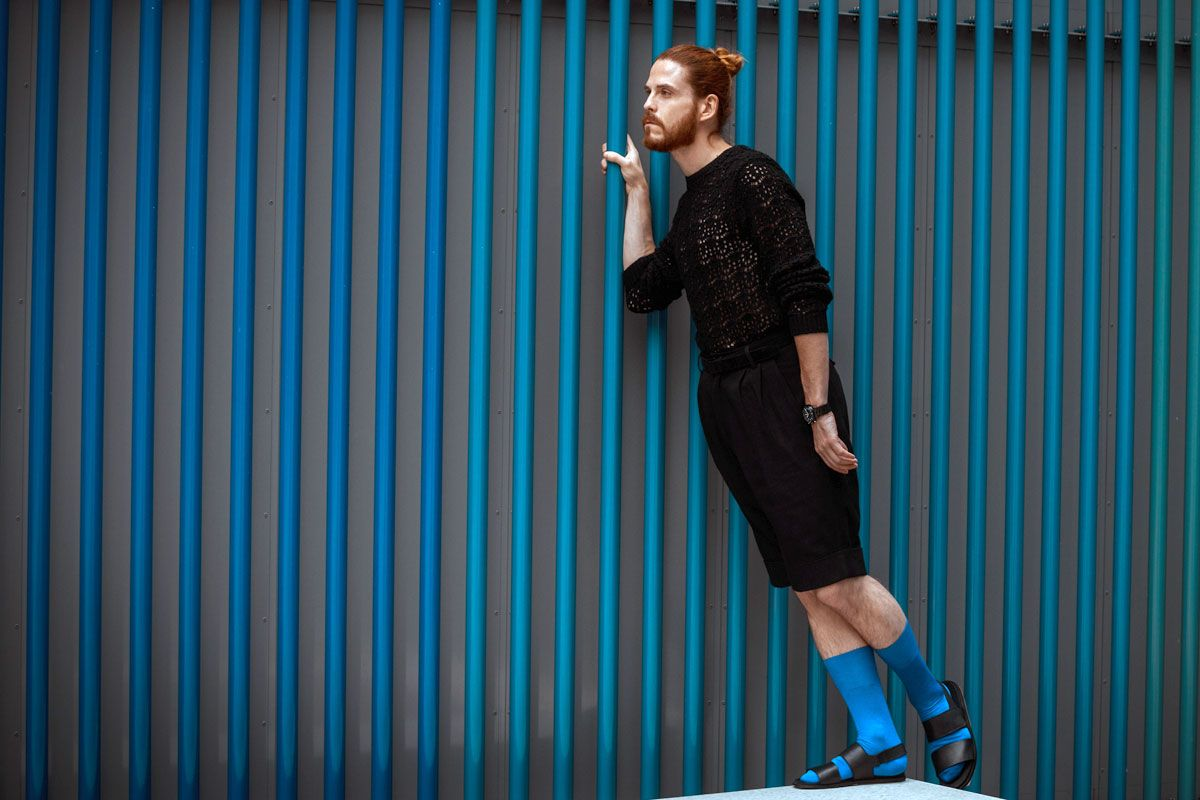Allblackeverything with colorful blue socks in sandals! :O