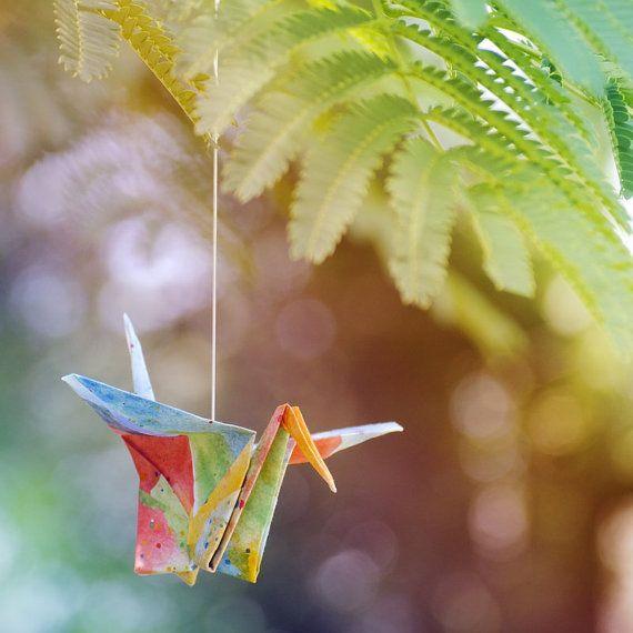 Rainbow origami crane photograph print, colorful Japanese paper folding wall art, the bird of happiness photo by Brandi Miller Art