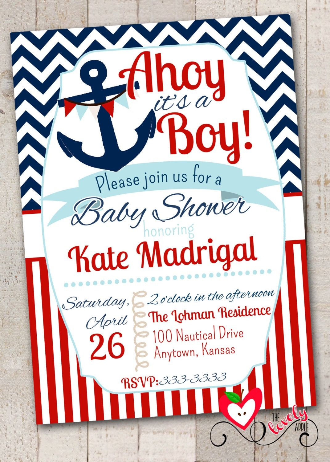 Nautical Baby Shower Invitation with FREE Diaper by thelovelyapple ...