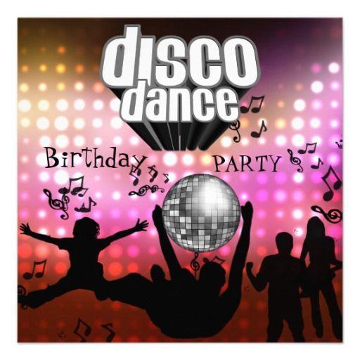 invitation disco dance birthday party retro kinderparty