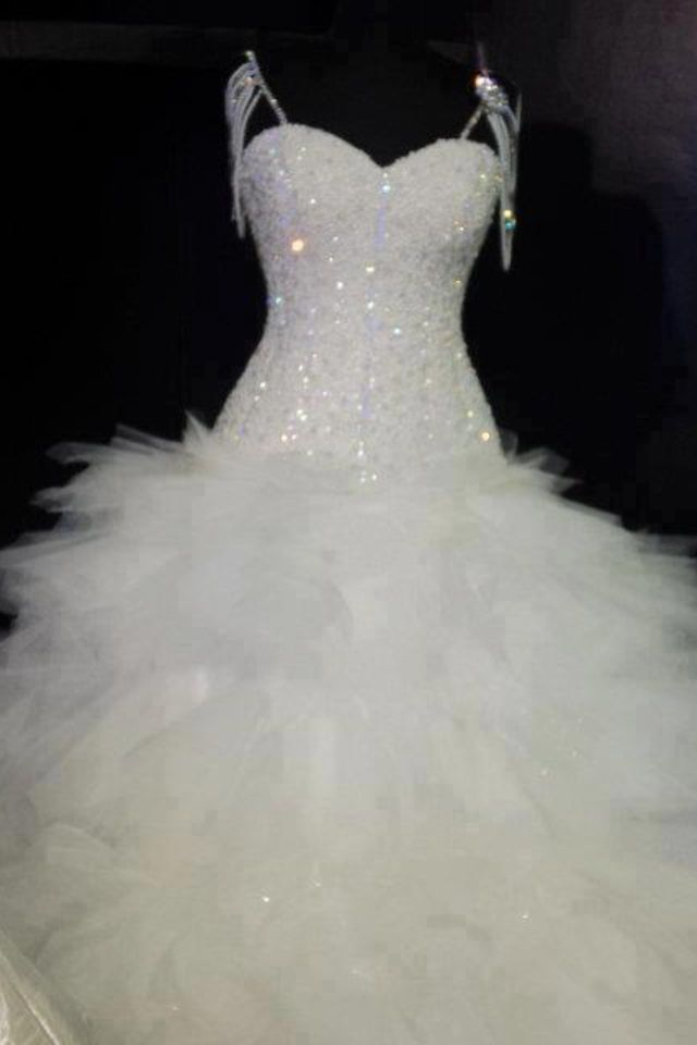 Crystal Beaded Feather Wedding Dress