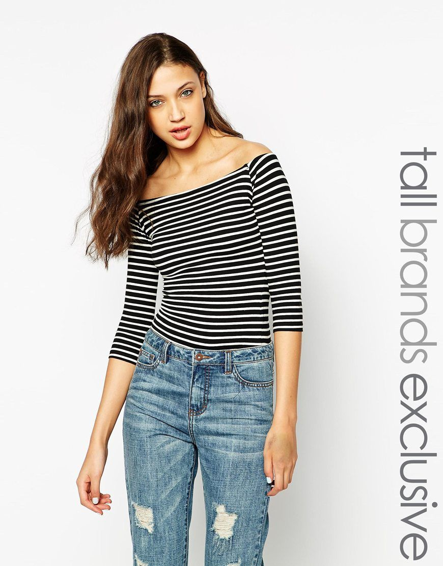 ef727a035fd New Look Tall 1/2 Sleeve Stripe Bardot Top | Style Inspiration ...