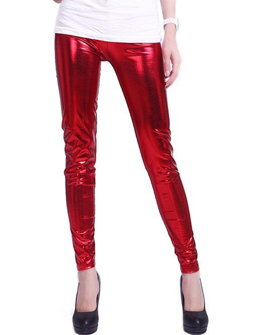 326acee2e000a HDE Women's Metallic Liquid Footless Tight Shiny Wet Look Leggings (Plus  Sizes) (Red, Medium)