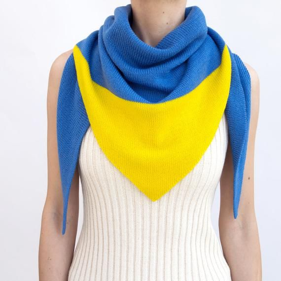 Photo of triangle scarf, blue, yellow, color block, knit scarf, knit triangle scarf, scarf, triangle shawl, c
