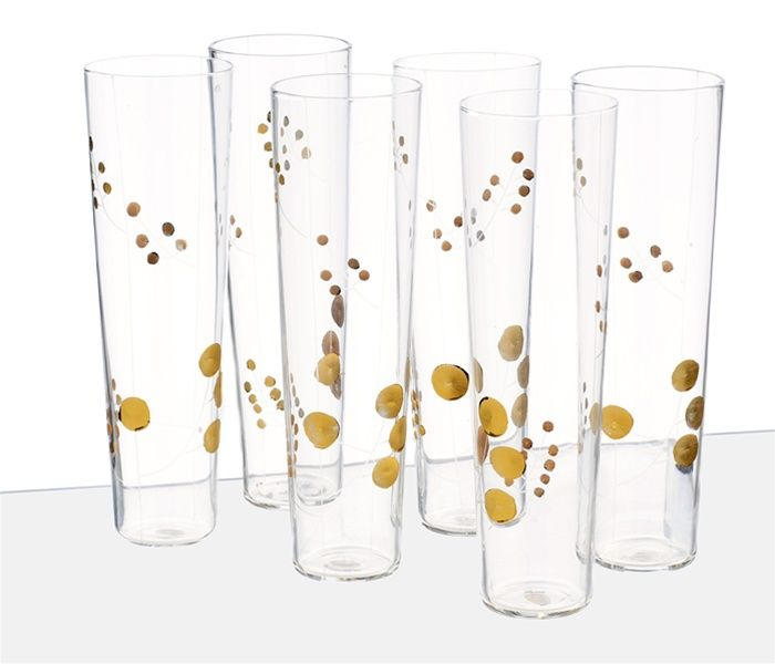 Roost Golden Berry Champagne Glasses - Set of 6 | I love these! too bad they are $98
