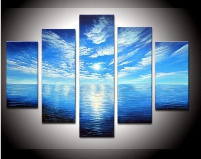 De la mano obras de arte pintadas de color azul oc ano - Nombres de colores de pinturas ...
