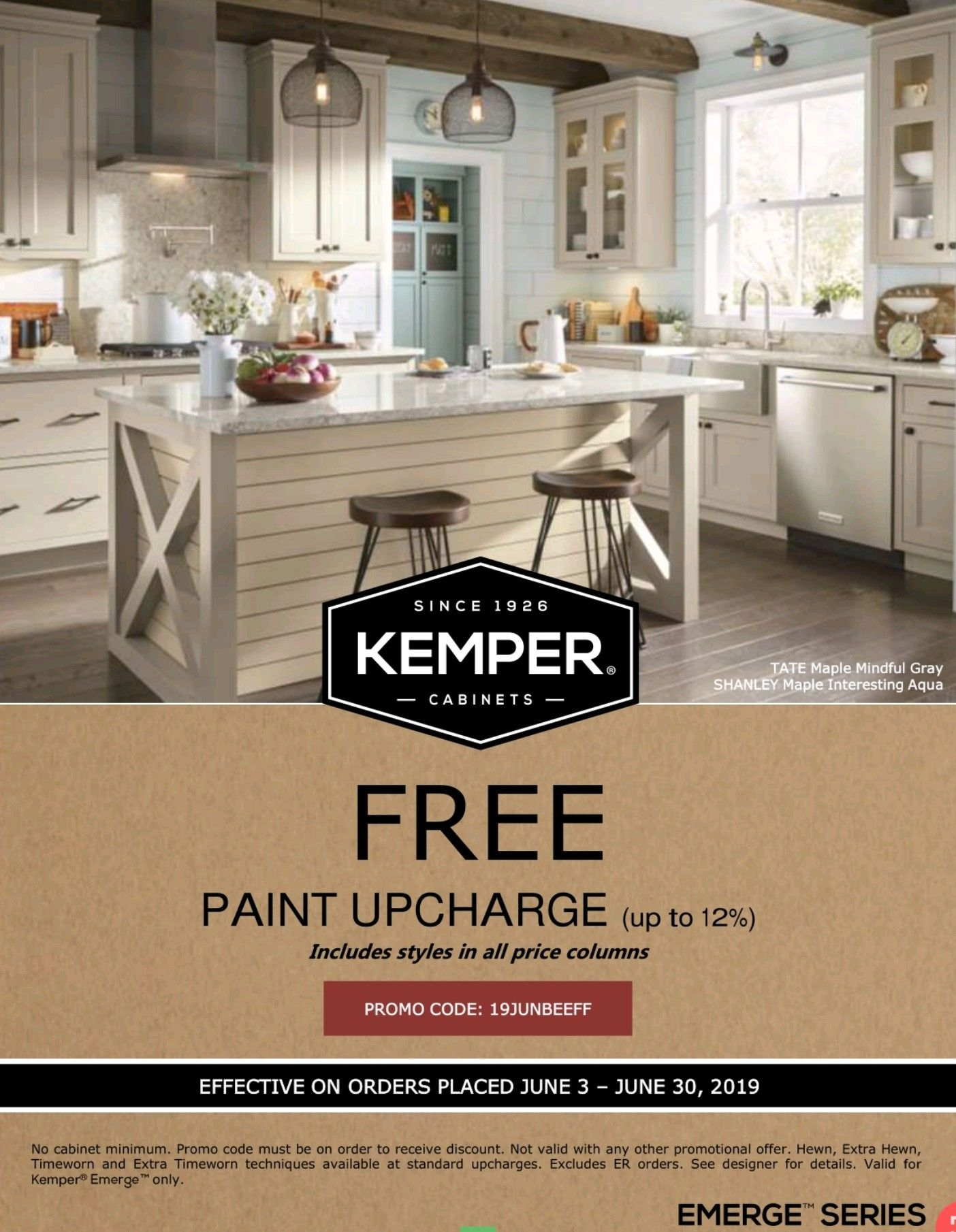 Free Paint 12 15 Savings Kemper And Emerge Now Til June 30 2019 Kitchensales Knoxvilletn Knoxville Kitchen Sale Discount Kitchen Cabinets Cabinets To Go