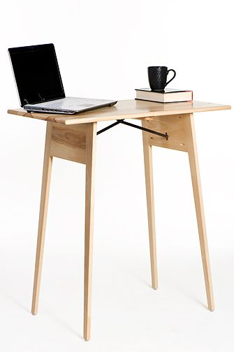 Wide Standing Ash Wood Standing Desk Made In Wisconsin For Stella