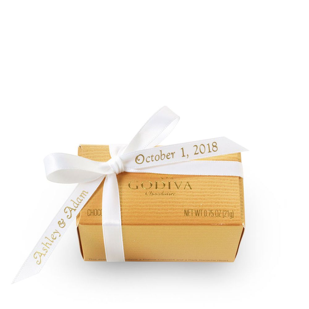2 pc. Gold Favor - Personalized White Ribbon So Sweet for wedding ...