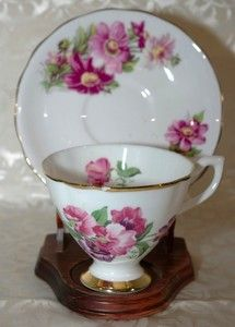 Crownford Bone China Footed Cup & Saucer with Pink Flowers and Gold Trim