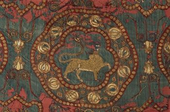 Morceau du suaire [shroud] de Saint Lazare d'Autun. Almeria, Cordova, Spain? Beginning of 11th c. Silk taffeta ground w/silk & gold embroidery.