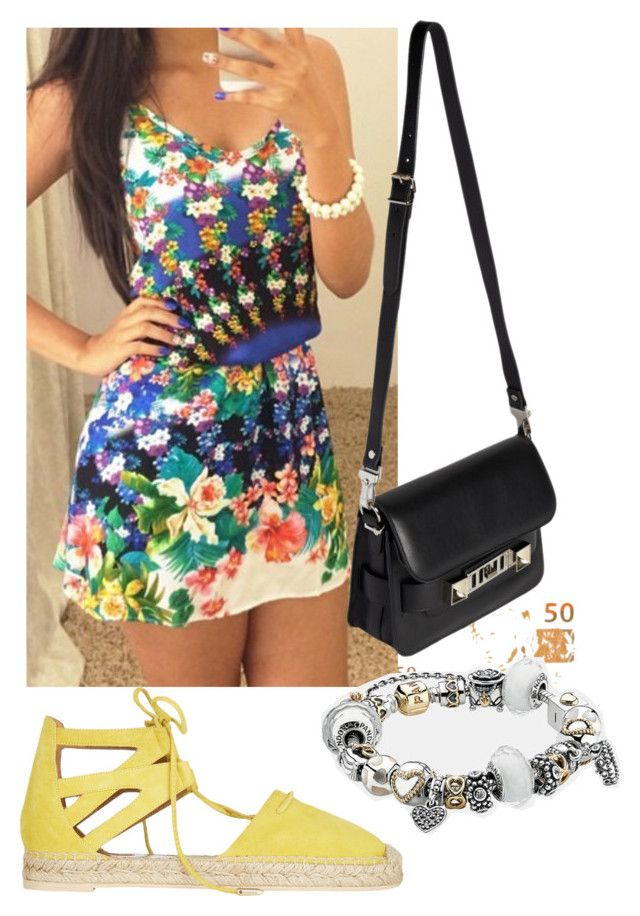"""""""Almoçar"""" by nathfreire ❤ liked on Polyvore featuring beauty, Aquazzura, Proenza Schouler and Pandora"""