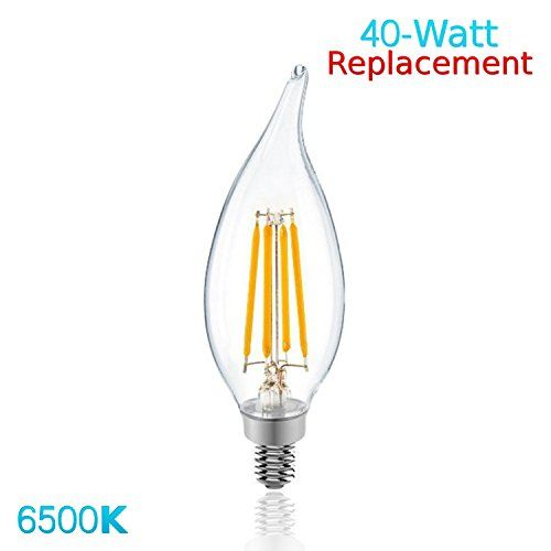 Luxrite Lr21242 4w Led Filament Candelabra Bulb 40w Equivalent Led Candle Bulb Daylight White 6500k 350 Lumens 2 Candelabra Bulbs Led Candelabra Bulbs Led Bulb