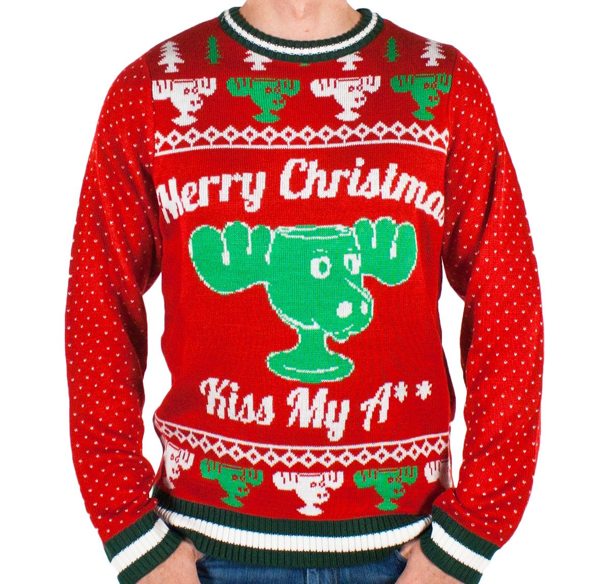 Festified - Men\'s Christmas Vacation \'Kiss My A**\' Moose Mug Sweater ...
