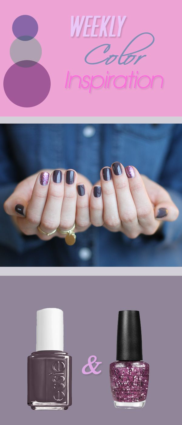 On all fingers – Essie Smokin Hot, Glitter layer on index fingers ...
