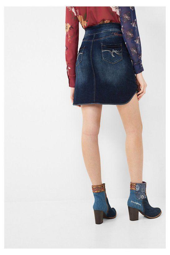 Falda tejana de tubo para mujer | Desigual.com H