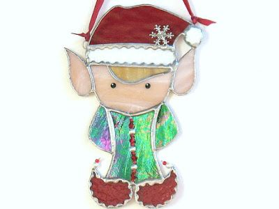 Stained Glass Santa\u0027s Elf Suncatcher Ornament #christmasornaments
