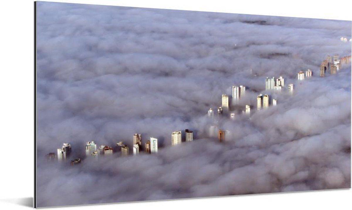 Lage Mist Om Wolkenkrabbers In Curitiba Brazilie Aluminium 160x80 Cm Foto Print Op Aluminium Metaal Wanddecoratie In 2021 Prints Wolkenkrabbers Mist