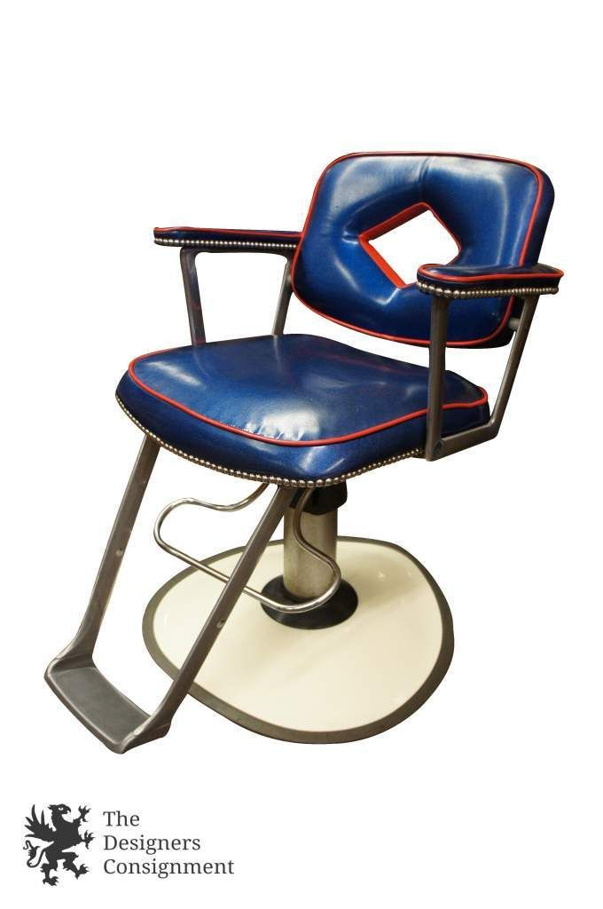 Vintage Belvedere Company 1986 Retro Barbers Salon Chair Red Blue Chrome  Swivel | The Designers Consignment - Vintage Belvedere Company 1986 Retro Barbers Salon Chair Red Blue